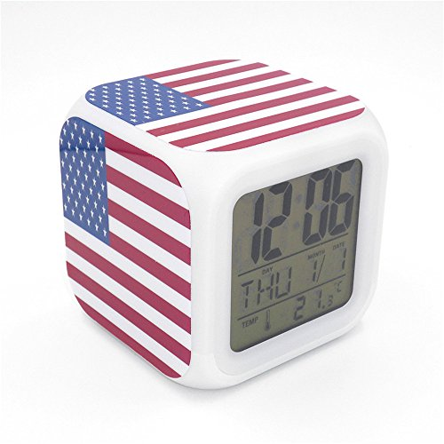 (Boyan Led Alarm Clock USA American United States Flag The Stars and Stripes Design Creative Desk Table Clock Glowing Led Digital Alarm Clock for Unisex Adults Kids Toy Gift)