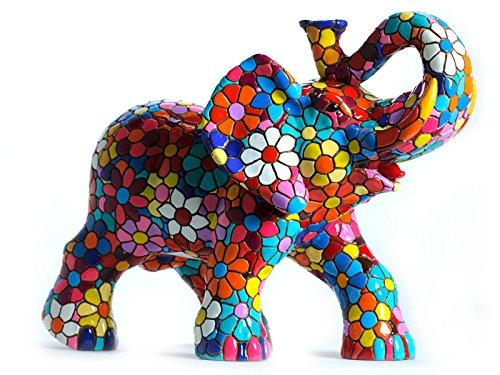 Laure TERRIER Elephant statue in resin, model Flowers mosaic Barcino. Height 6,7 -