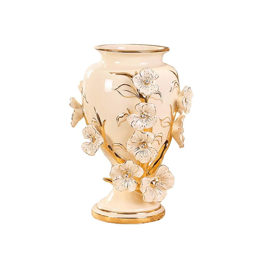 MAHONGQING 花瓶セラミックヨーロッパ花瓶装飾リビングルームフラワー花瓶装飾装飾品クリエイティブドライフラワー花瓶 (Size : M) B07RQPDD42  Medium