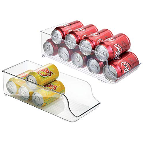 mDesign Large Standing Pop/Soda Can Dispenser Storage Organizer Bin for Kitchen Pantry, Countertops, Cabinets, Refrigerator - Compact Horizontal Holder - BPA Free, Food Safe Plastic, Pack of 2, Clear