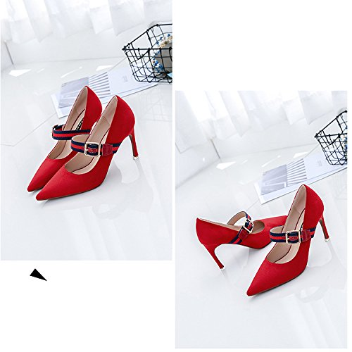 Señoras Nupcial Sexy Del Dedo Clásico De Sandalias Mujer 8CM De La 1 Verano Pie Aguja Correa Tacones Zapatos ZPFFE Para Partido Acentuado Del De Rojo Bombas qfaxz6w