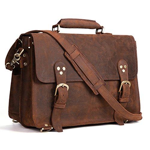 De hombre de piel de Kattee Crazy Horse bolso mochila bolsa de viaje portátil maletín