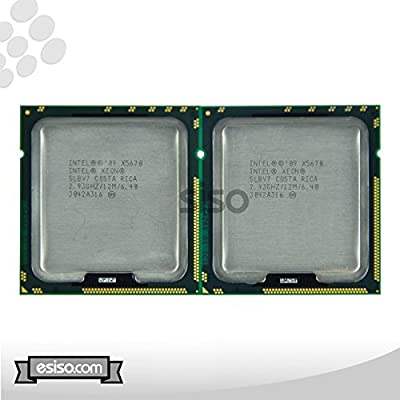Matching Pair Intel Xeon X5670 Six Core Processor 2.93GH/z 12MB Smart Cache 6.4GT/s QPI TDP 95W SLBV7 BX80614X5670