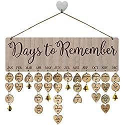 FamGift Gifts for Moms Dads Wooden Birthday Reminder Calendar Sign Board Wall Hanging Family Decor Plaque Birthday Tracker Plaque for Family&Friends&Classroom(Days to Remember Sayings Pattern)