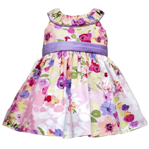 Rare Editions Baby/NEWBORN 3M-9M 2-Piece LILAC-PURPLE PINK RUCHED NECKLINE MULTI FLORAL PRINT Special Occasion Flower Girl Easter Party Dress