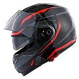 1Storm Motorcycle Street Bike Modular/Flip up Dual Visor/Sun Shield Full Face Helmet Storm Tron Red