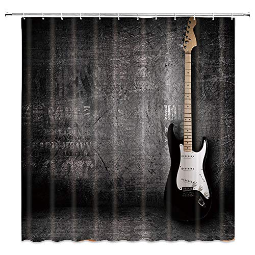 AMNYSF Music Shower Curtain Electric Guitar Musical Instrument Vintage Black Wall Decor Fabric Bathroom Curtains,70×70…
