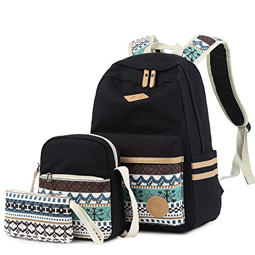 - Lmeison Teeans Girls Backapck, Canvas Backpack Set 3 in 1 Bookbags with Shoulder Bag and Clutch Purse Laptop Backpack Travel Daypack(Black)