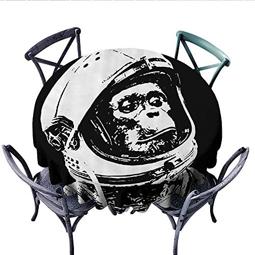Outer Space Decor Washable Tablecloth Little Chimpanzee in Helmet Futuristic Cosmos and Galaxy Discovery Image Table Cover for Kitchen (Round, 36 Inch, Black White)