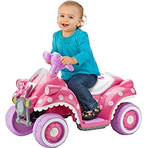kid trax disney minnie mouse hot rod quad 6 volt battery powered ride on toys games. Black Bedroom Furniture Sets. Home Design Ideas