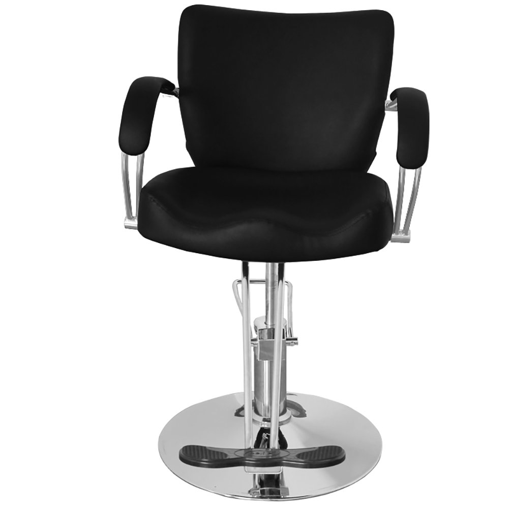 Qivange Adjustable Reclining Beauty Salon Barber Chair Professional Hairdressing Spa Chair PU Leather Black(Round)