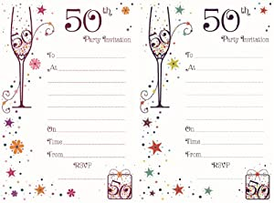 50th Birthday Party Invitations - Pack of 20 with Envelopes ...