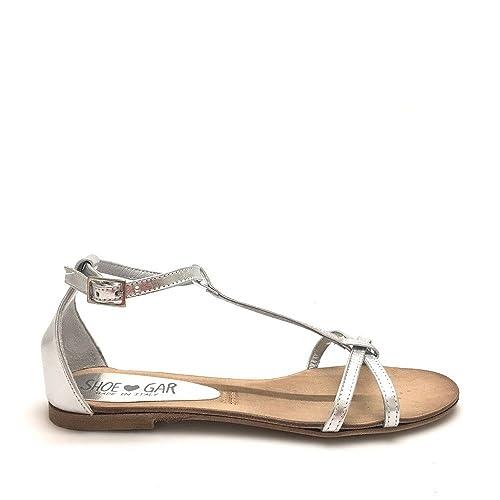 Sandali bassi incrociati argento con cinturino vera pelle made in italy