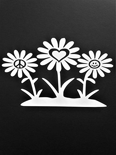 Peace Sign Daisy Flowers Hippie Vinyl Decal Sticker|WHITE|Cars Trucks Vans SUV Laptops Wall Art|6.5