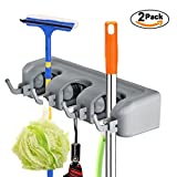 2 Pack Broom Holder Wall Mounted - Mop and Broom Hanger Holder - Garage ...