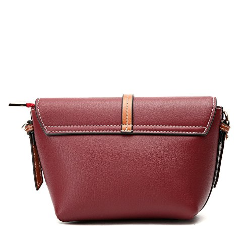 Shoulder Messenger Leather Stitching type Bag Sunbobo Retro Magnetic Wine Red Bag Shell Simple Zxw0UOqz