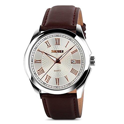 Aposon Mens Watch Unique Analog Quartz Wrist Watch Business Casual Wrist Dress Watch Fashion Gentleman Roman Numeral Classic Calendar Cheap Watches on Sale 30M Waterproof -Brown