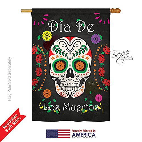 Breeze Decor H112009 Dia de Los Muertos Fall Halloween Decorative Vertical House Flag, 28″ x 40″, Multicolor For Sale