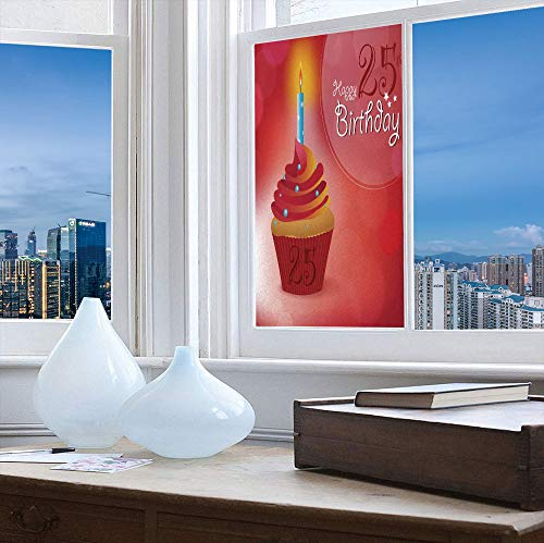 (YOLIYANA Privacy Window Film Decorative,25th Birthday Decorations,for Glass Non-Adhesive,Delicate Blue Dots on a Sweet Cupcake Intimate,24''x48'')