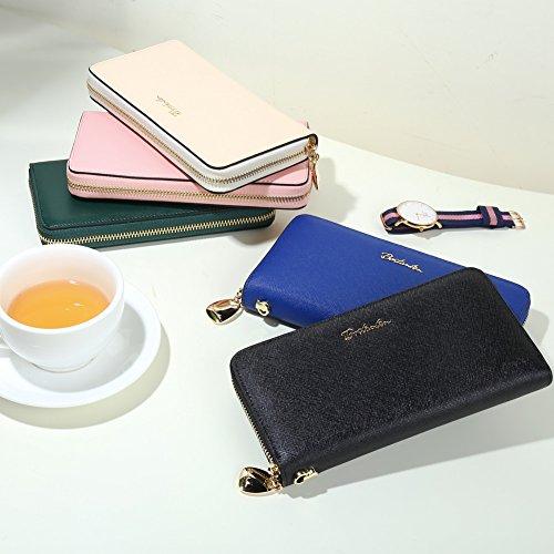 BOSTANTEN Women Leather Wallet Clutch Purses Card Cash Holder Long Wallets Black by BOSTANTEN (Image #5)