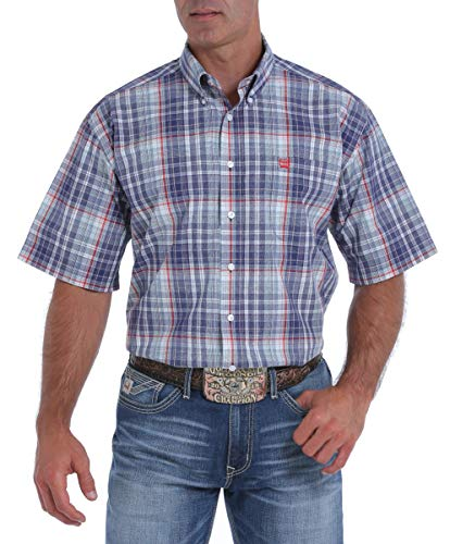 - Cinch Mens Blue, Red and Turquoise Plaid Short Sleeve Button-Down Western Shirt