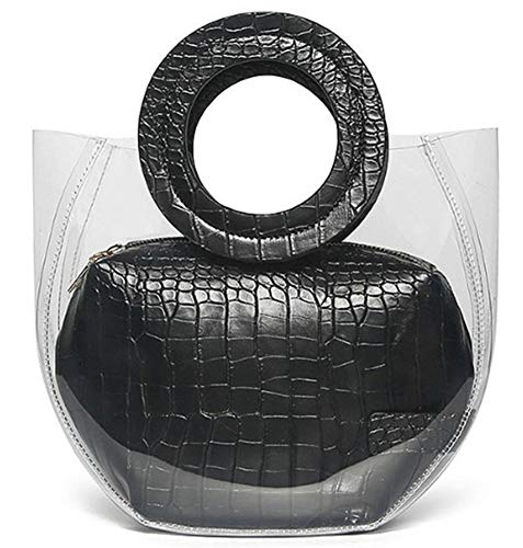 Caistre Women's Crocodile Pattern Waterprof Clear Tote Beach Transparent Shoulder Crossbody Bag Jelly Handbag (A-Black)