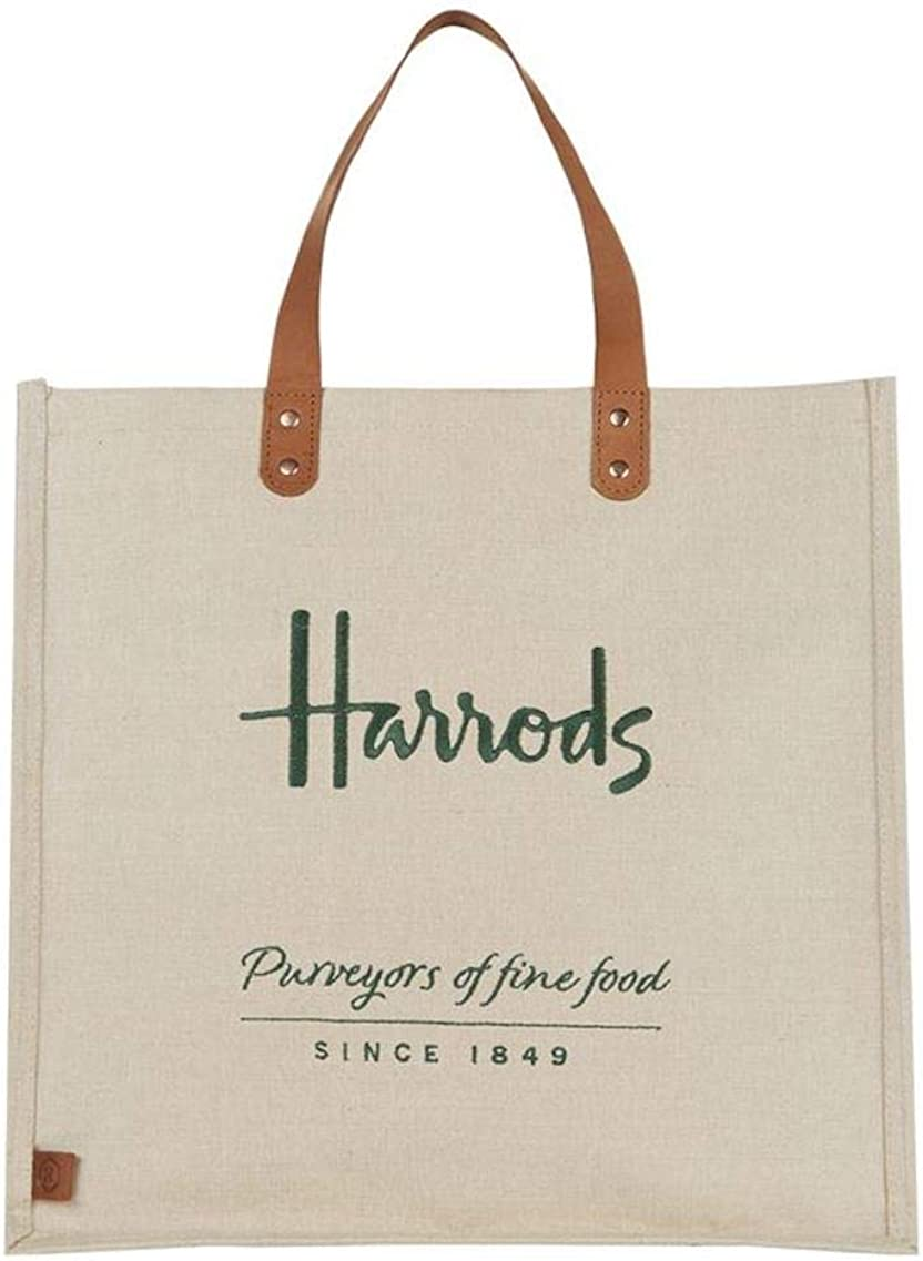 Harrods Embroidered Jute Shopper Bag