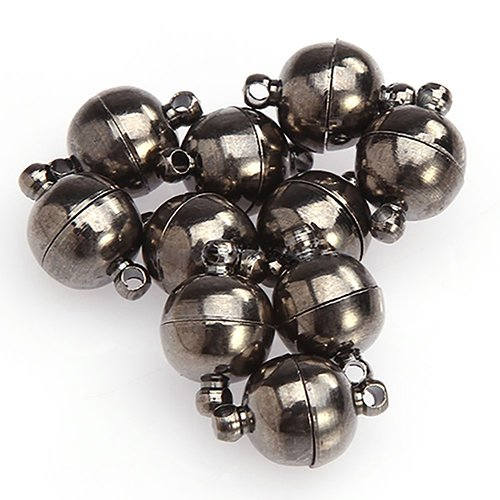 Baost 10Pcs Metal Round Ball Magnetic Jewelry Clasps All Match DIY Magnetic Beads Clasp Jewelry Cord End Converter for Bracelet Necklace Jewelry Gunmetal Black 6mm