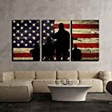 """wall26 - 3 Piece Canvas Wall Art - Silhouette of Troops on American Flag Background - Modern Home Decor Stretched and Framed Ready to Hang - 16""""x24""""x3 Panels"""