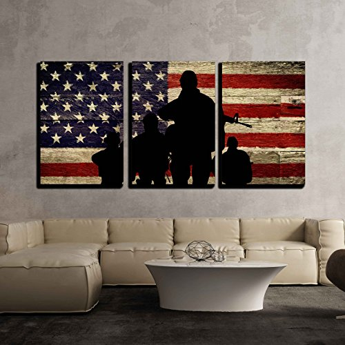 Silhouette of Troops on American Flag Background x3 Panels