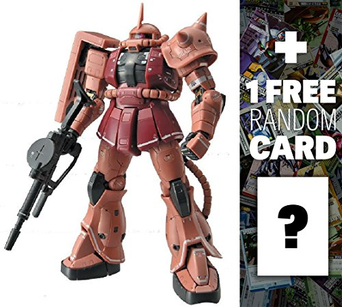 MS-06S Char's Zaku: Gundam Real Grade 1/144 Model Kit + 1 FREE Official Gundam Japanese Trading Card Bundle [RG #002]