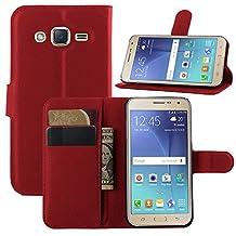 J3 (6) Case,IVY Galaxy J3 PU Leather Case Wallet Phone Case [Litchi Grain] For Samsung Galaxy J3 2016 SM-J320 / Amp Prime / J3 V - Red