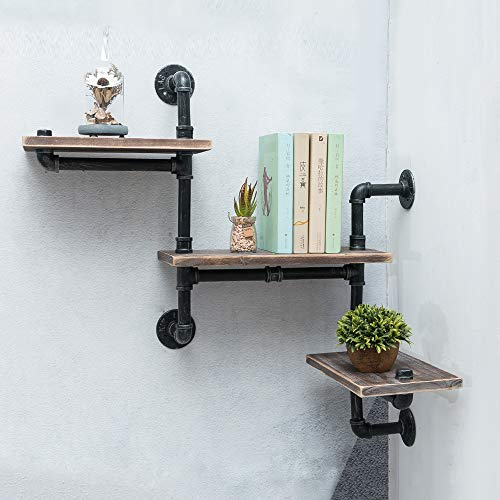 Industrial Pipe Shelving Wall Mounted,Steampunk Real Reclaimed Wood Book Shelves,Rustic Metal Floating Shelves,Wall… 2