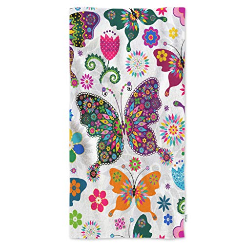 oFloral Butterflies Hand Towels,Seamless Spring White Floral with Colorful Butterflies and Flowers Soft Comfortable Towel for Bath/Kitchen/Yoga/Golf/Hair Towel for Men/Women/Girl/Boys 15X30 Inch
