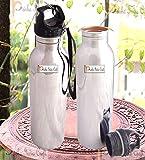 Prisha India Craft Pure Copper Water Bottle Outside Steel with Plastic Loop Cap Handmade Joint Free & Leak Proof Water Bottles | Capacity 900 ML | Set of 2