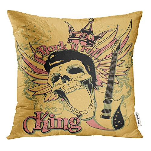 Emvency Throw Pillow Covers Decorative Cases Skull Rock and Roll King Artistic Star Vintage Acoustics Chord Classical Club 18x18 Inch Cover Cushion Pillowcase Square Case Print