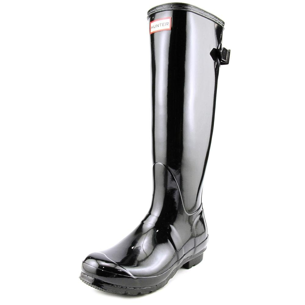 Womens Hunter Original Adjustable Back Gloss Wellington Winter Rain Boot B00IHW7PLK 8 M US|Black