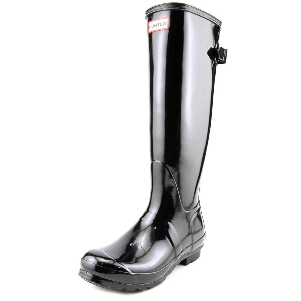 Womens Hunter Original Adjustable Back Gloss Rain Snow Wellington Boot - Black - 8