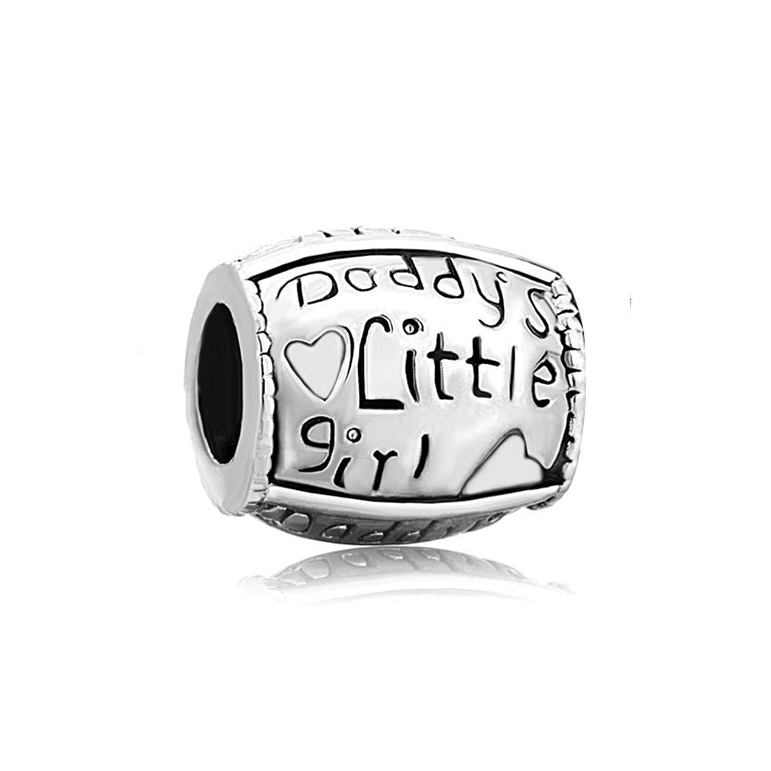 CharmSStory Sterling Silver Daddy's Little Girl Charm Beads For Bracelets