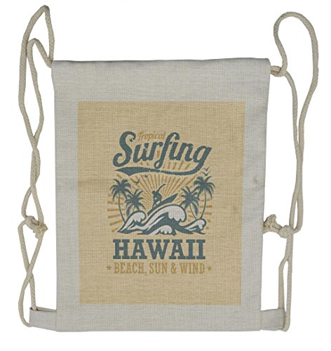 Lunarable Vintage Hawaii Drawstring Backpack, Wind Surfing Waves, Sackpack Bag