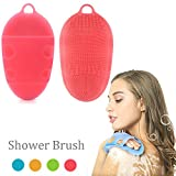 skin brush for body - Soft Silicone Body Brush Body Wash Bath Shower Glove Exfoliating Skin SPA Massage Scrubber Cleanser, for sensitive and all kind skins (Pink)