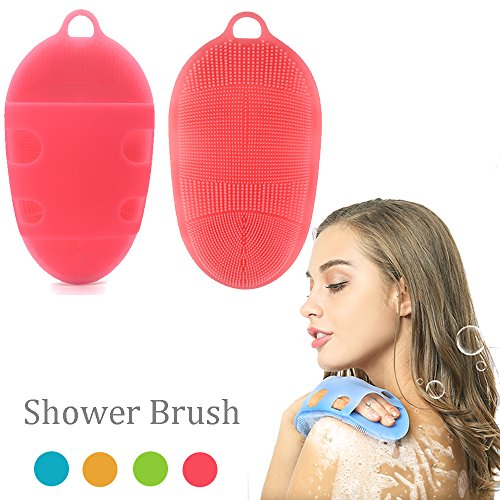 Soft Silicone Body Brush Body Wash Bath Shower Glove Exfoliating Skin SPA Massage Scrubber Cleanser, for sensitive and all kind skins (Pink)