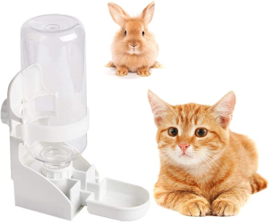 Vvciic Automatic Rabbit Feeders, 500ml Rabbit Cage Feeder, Pet Hanging Water Dispenser Cage Water Feeder Removable Food Water Bottle, Hanging on Cage for Hamster Rabbit Little Cat Dogs