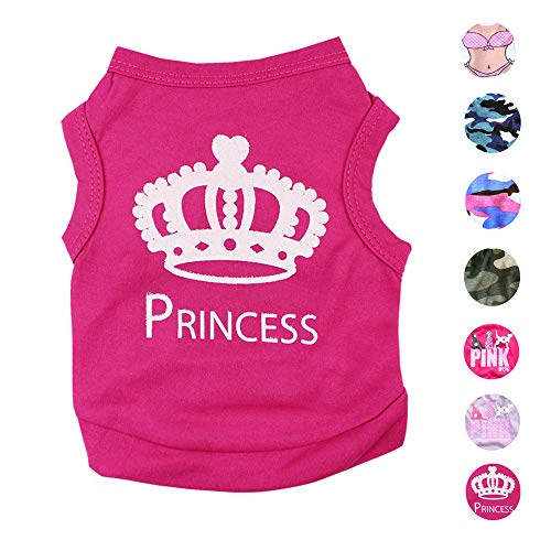 (Alroman Dog Fuchsia Shirts Puppy Magenta Vest with Crown Pattern Princess Clothing for Pet Dogs Cats Tee L Puppy Summer T-Shirt Female Girl Doggie Small Clothes Kitten Tank Top Apparel)