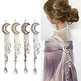Wensltd Clearance! Moon Crystal Rhinestone Beads Dangle Hairpin Hair Clip Women Bridal Jewelry (D)