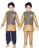 ahhaaaa Kids Indian Ethnic Waistcoat, Kurta, Breaches and Dhoti Pant Set for Baby Boys(3, Navy)