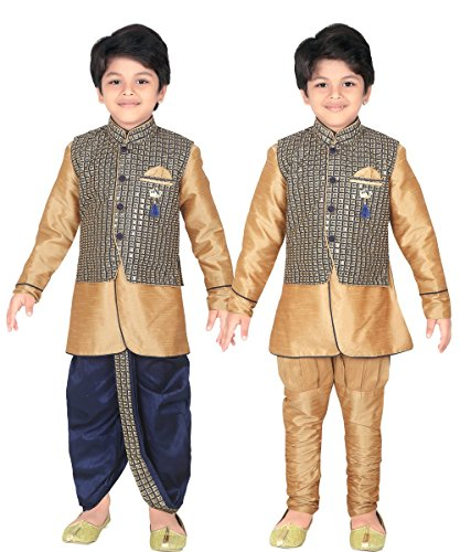 Kurta Dhoti (ahhaaaa Kids Indian Ethnic Waistcoat, Kurta, Breaches and Dhoti Pant Set for Baby Boys(2, Navy))