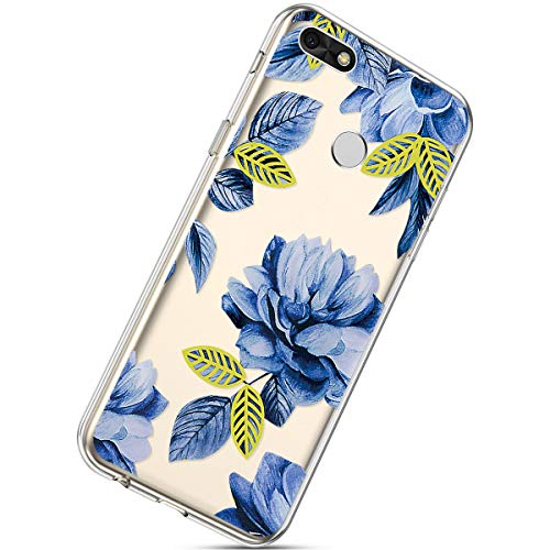 Herbests Compatible with Huawei Y6 Pro 2017 Clear Case Floral Printed Soft TPU Bumper Girls Women Ultra Slim Transparent Rubber Gel Clear TPU Silicone Back Case,Blue Rose Flower