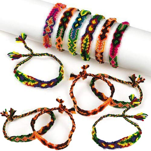 Kicko Friendship Bracelets Woven 11 Inches - Pack of 12 - Cool Colorful Friendship Bracelets - for Girls Beauty, Fashion, Great Party Favors, Gift, Prize