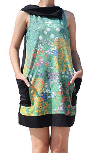 RaanPahMuang Gustav Klimt Garden In Flower Collar Fold Dress, X-Large